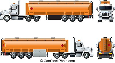isolado, realístico, vetorial, caminhão, modelo, branca, petroleiro