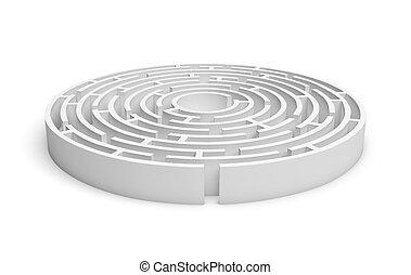 isolado, redondo, fundo, labirinto, consruction, branca, 3d