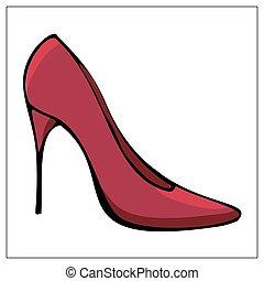 isolado, sapatos planos, vetorial, vermelho, ícone, alto-colocar salto* no* sapato*, branca, femininas