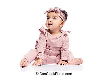isolado, white., pequeno, posing bebê