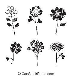 isolated., mão, flowers., vetorial, desenhado, doodles.