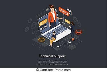 isometric, apoio, concept., técnico, vetorial, cliente, illustration., online