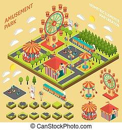 isometric, criador, parque divertimento, mapa, composição