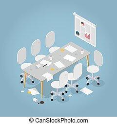 isometric, escritório, sujo, ilustração