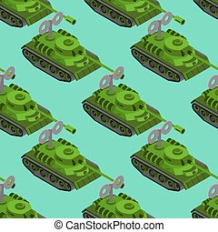isometric, tanque brinquedo, exército, pattern., seamless, clockwork, experiência., maquinaria, fundo, veículo, militar