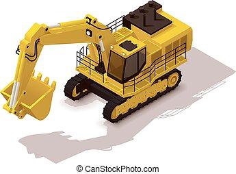 isometric, vetorial, mineração, escavador