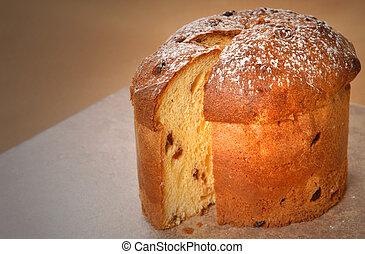 italiano, panettone, natal, pão