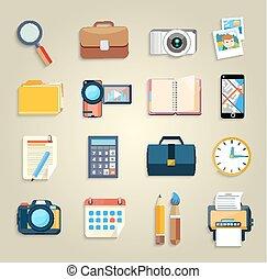 itens, marketing, negócio, ícones escritório