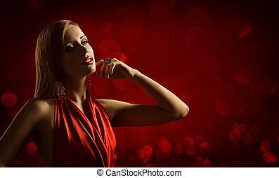 jóia, moda, beleza, mulher jovem, posar, retrato, modelo, vestido, menina, vermelho