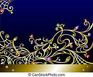jóias, jewerly, ouro, vetorial, fundo, horizontais