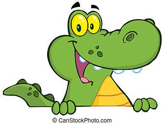 jacaré, crocodilo, sobre, ou, sinal