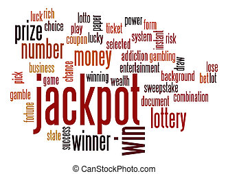 jackpot, palavra, nuvem