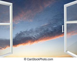 janela, pôr do sol, aberta