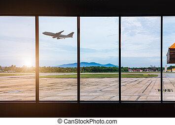 janelas, aeroporto, avião