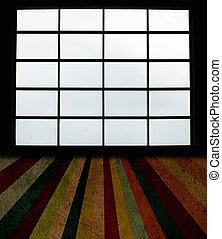 janelas, grande, grunge, chão prancha