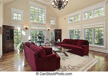 janelas, vivendo, história, sala, dois