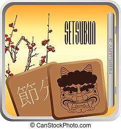 japão, celebrado, feriado, setsubun