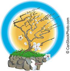 japoneses, ilustração, árvore