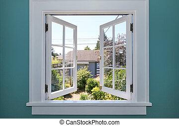 jarda, costas, janela, pequeno, shed., abertos