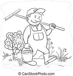 jardim, ancinho, contorno, jardineiro