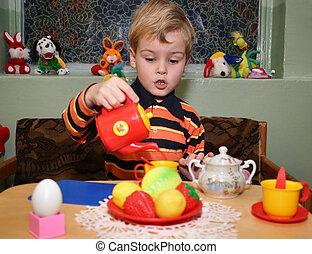 jardim infância, chá, jogo, criança
