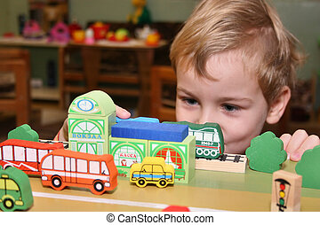 jardim infância, jogo, criança