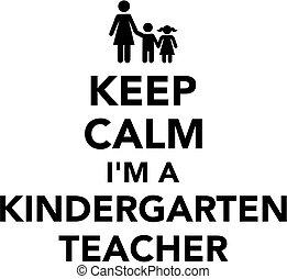 jardim infância, professor, pacata, mantenha