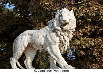 jardim, luxemburgo, frança, leão, paris., escultura