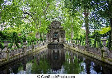jardim, medici, paris, luxemburgo, frança, chafariz