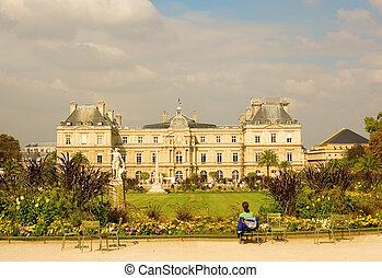jardim, palácio, paris, luxemburgo, frança, vista