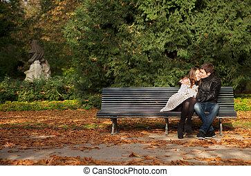 jardim, par, paris, luxemburgo, frança, fall., romanticos