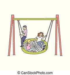 jardim, recreação, figura, lar, quintal, pessoas, lazer, vara, ícone, pátio recreio, pictograma, crianças, parque, atividade