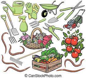 jardinagem, arte, clip