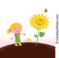 jardineiro, jardinagem, criança, primavera, :