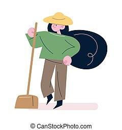 jardineiro, pá, trabalhando, roupas, chapéu, ficar, mulher