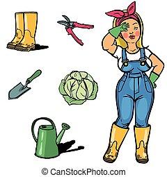 jardins, cartton, jardineiro, ferramentas, engraçado