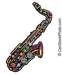 jazzy, música, coloridos, fundo