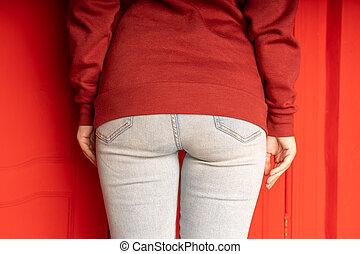 jeans., fim, femininas, woman., bundas, unrecognizable, vista, cima, parte traseira