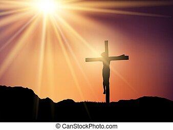 jesus, crucifixos, céu ocaso, contra, silueta, 0403