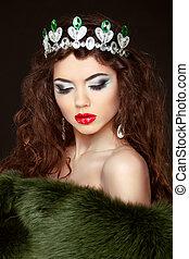 jewelry., diamante, pele, beleza, coat., modelo moda, menina, beautifu