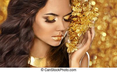 jewelry., dourado, olhos, moda, beleza, attra, makeup., portrait., menina