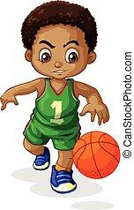 jogador, basquetebol, macho, criança
