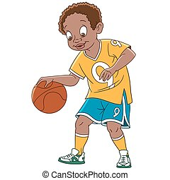 jogador, caricatura, menino, basquetebol
