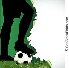 jogador de futebol, futebol, cartaz, silueta