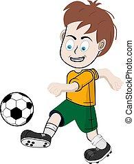 jogador de futebol, shorts, amarela, menino, t-shirt