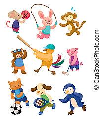 jogador, desporto, caricatura, animal