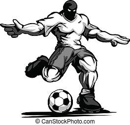 jogador, futebol, pula, bola, chutando