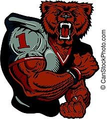 jogador, futebol, urso