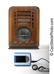 jogador, mp3, novo, antigas, rádio, 1