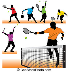 jogadores, silhuetas, tênis, jogo, 6